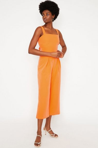 Orange Pinny Bow Back Jumpsuit