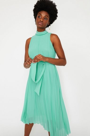 Aqua Pleated Midi Dress