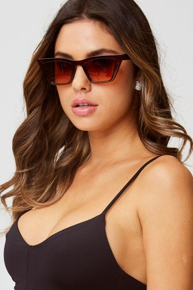Gigi Brown Sharp Cat Eye Sunglasses