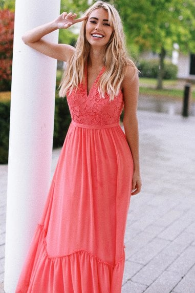 Casey Grapefruit Crochet Maxi Dress