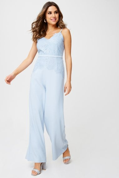 Miriam Lace Jumpsuit In Blue