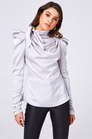 Florida Grey Satin Bow Statement Shoulder Top