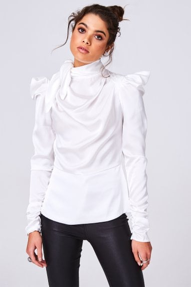 Florida Cream Satin Bow Statement Shoulder Top