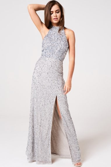Luxury Nicky Grey Hand-Embellished Sequin Maxi Dress