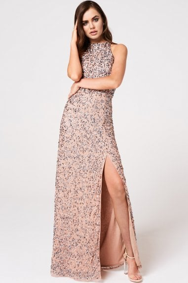 Luxury Nicky Mink Hand-Embellished Sequin Maxi Dress