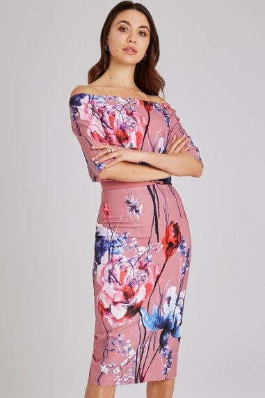 Elva Floral-Print Bardot Midi Dress