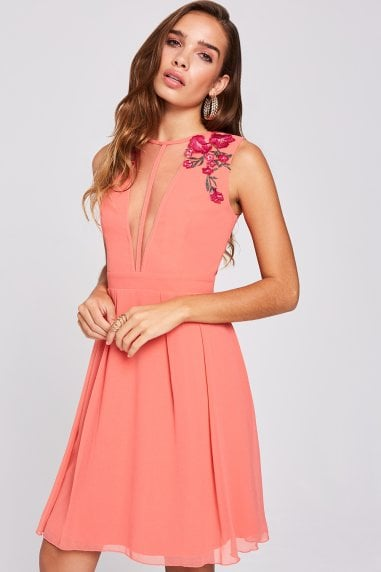 Casey Grapefruit Embroidered Skater Dress
