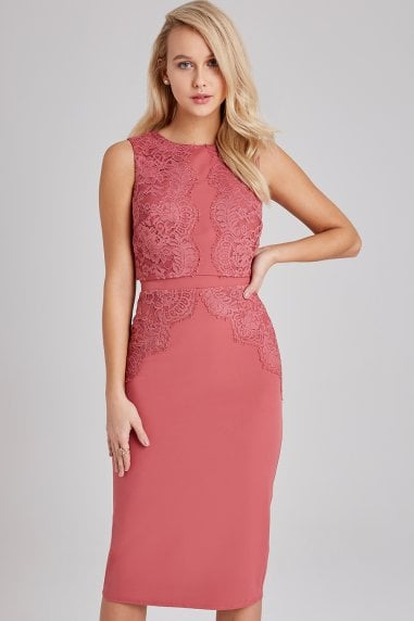 Cassidy Sienna Blush Lace-Trim Pencil Dress