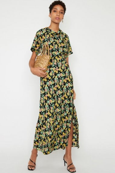 Multi Cowl Floral Split Maxi Dress