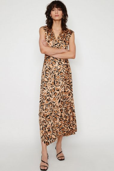 Leopard Print Cowl Back Midaxi Dress