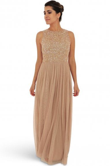 Claye Nude Embellished Maxi Dress