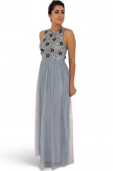 Pipei Blue Embellished Maxi Dress