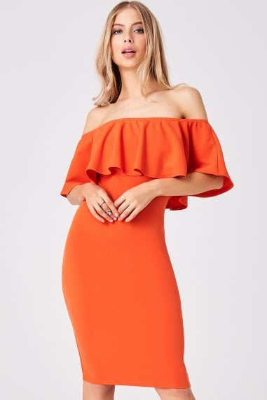 Candice Orange Ruffle Bardot Bodycon Dress