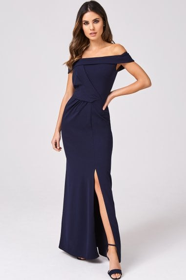 Essential Navy Knot Detail Bardot Maxi Dress