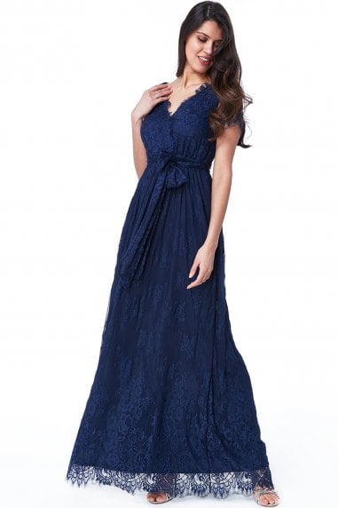 Navy Scalloped Hem Lace Maxi Dress
