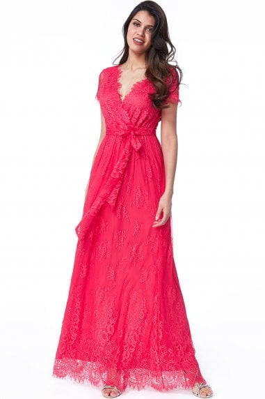 Hot Pink Scalloped Hem Lace Maxi Dress