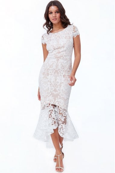 White Lace High Low Maxi Dress