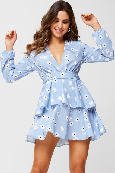 Levi Blue Floral-Print Ruffle Tea Dress