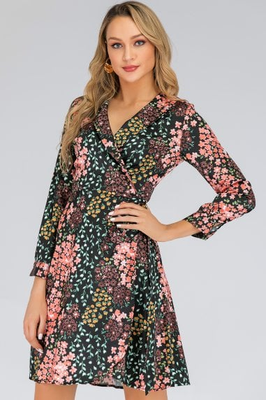 Digital Floral-Print Satin Mini Dress