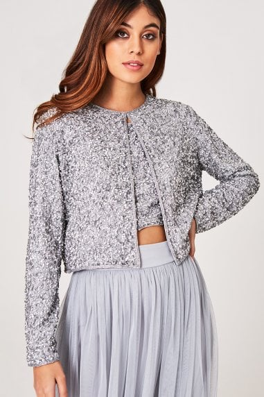 Luxury Effy Grey Hand-Embellished Sequin Jacket