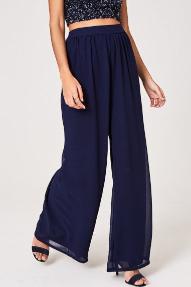 Mandy Navy Wide-Leg Trousers Co-ord