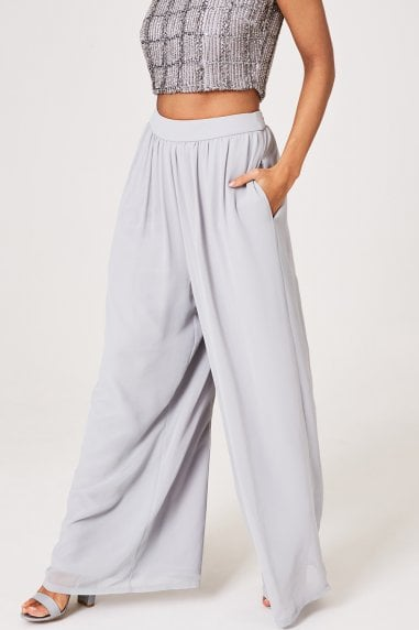 Mandy Grey Wide-Leg Trousers Co-ord