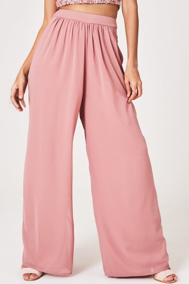 Mandy Dusty Pink Check Wide-Leg Trousers Co-ord