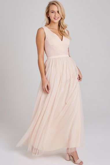 Bea Nude Lace-Trim Maxi Dress