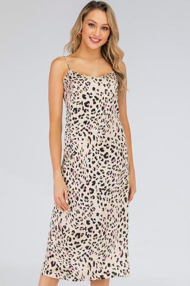 Beige Leopard-Print Satin Midi Slip Dress