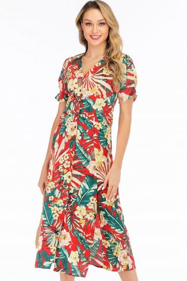 Red Floral-Print Button Through Midaxi Dress