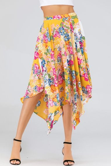 Yellow Floral-Print Asymmetrical Midi Skirt
