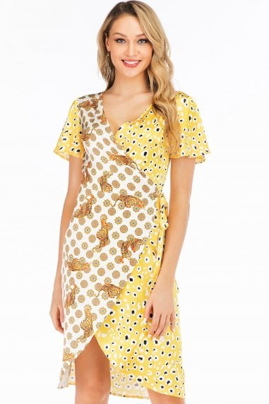 Yellow Leopard & Tiger Contrast Satin Wrap Dress