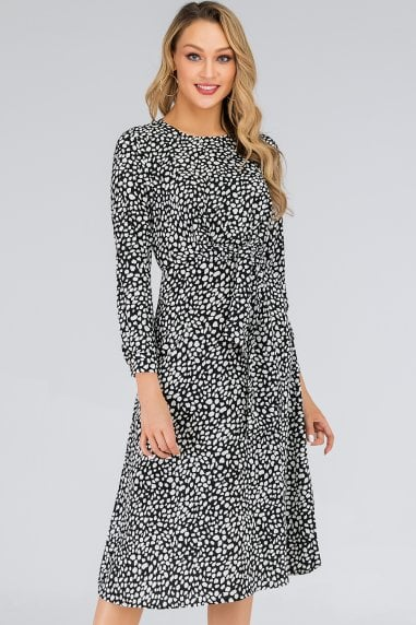Black & White Speckle-Printed Tie Waist Midi Dress