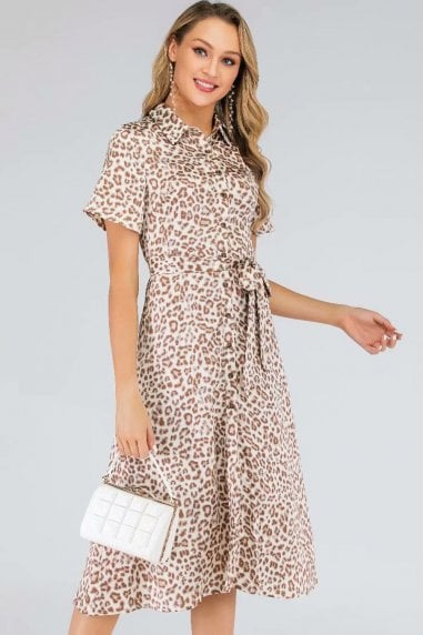 Cream & Coral Leopard-Print Satin Midi Shirt Dress