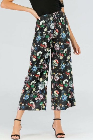 Black Floral-Print Wide Leg Satin Trousers