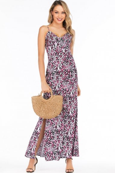 Pink & Purple Leopard-Print Satin Sweetheart Maxi Dress