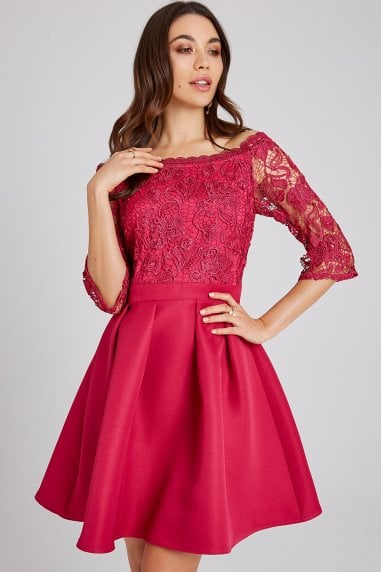 0309149b28c5e Frances Hot Pink Lace Bardot Skater Dress · Little Mistress ...