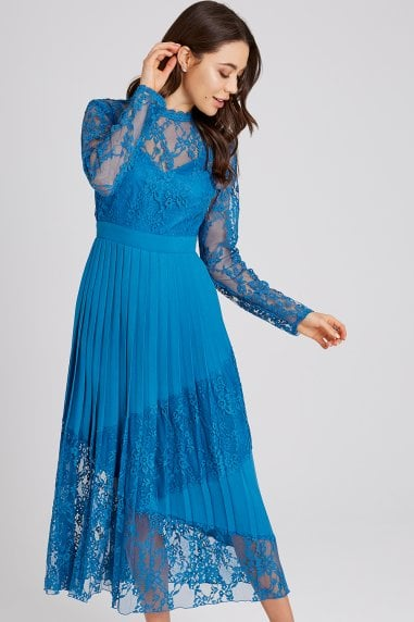 Reagan Lagoon Blue Lace Midaxi Dress
