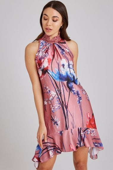 Elva Floral-Print Satin Shift Dress