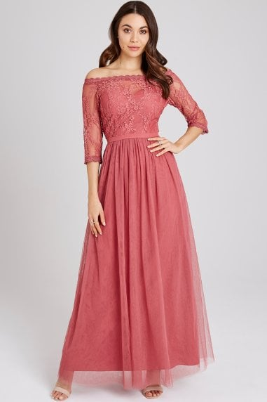Cassidy Sienna Blush Lace Bardot Maxi Dress