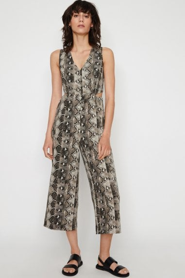 Snake Print Cut Out Jumpsuit