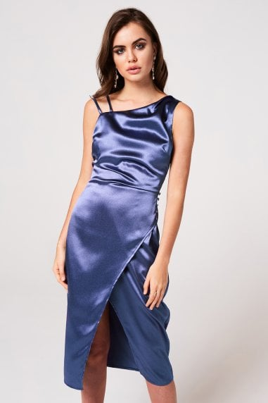 Kingly Blue Satin Midi Slip Dress
