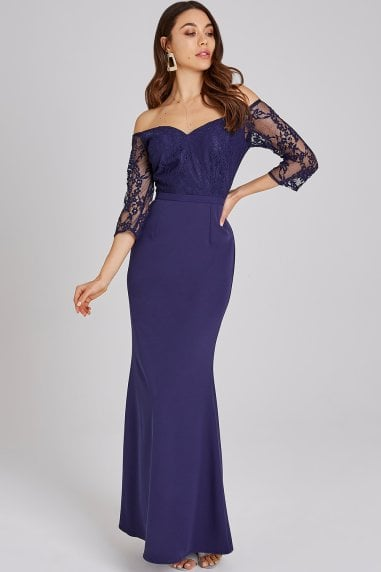 Erin Navy Lace Bardot Maxi Dress