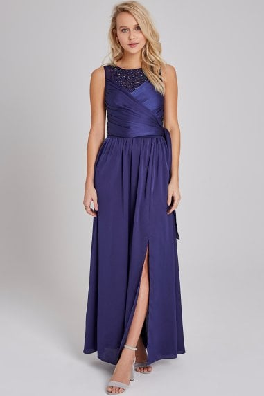 Erin Navy Satin Hand-Embellished Maxi Dress