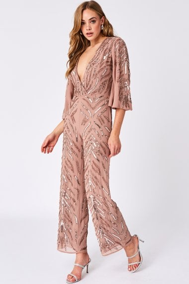 Elena Blush Sequin Embellished Jumpsuit