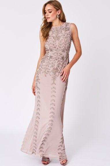 5dd84ae97686a Diorce Blush Sleeveless Embellished Round Neck Maxi Dress