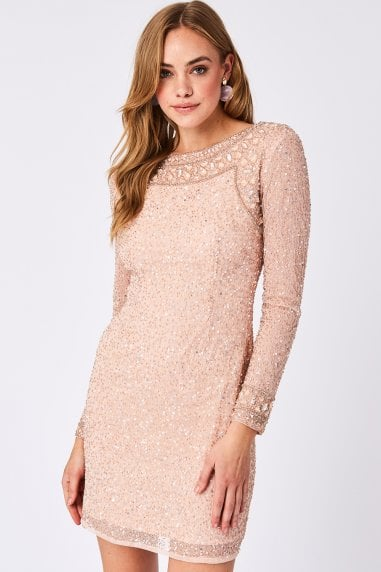 Holy Pink Sequin Embellished Mini Dress