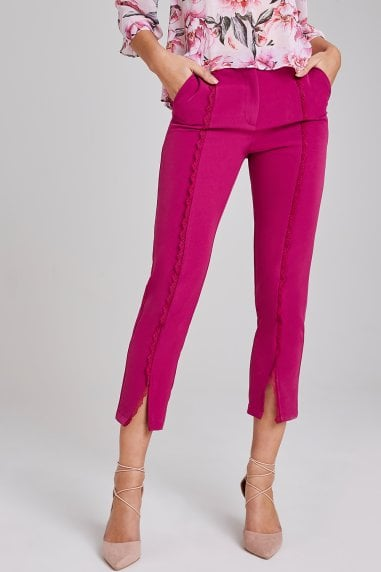 Leman Magenta Crochet-Trim Cigarette Trousers