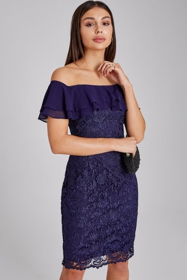 Chandler Navy Lace Bardot Dress