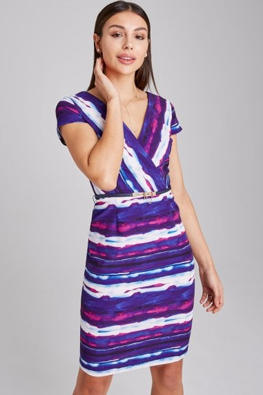 Copse Stripe Mock Wrap Pencil Dress